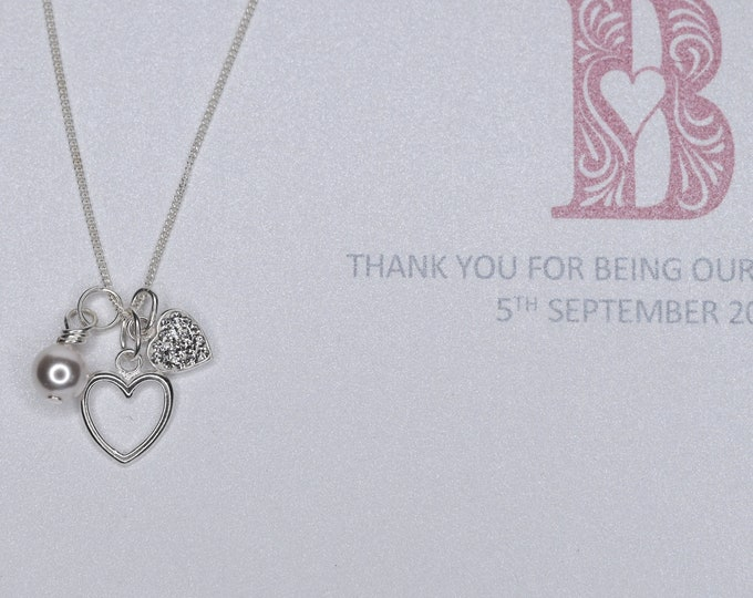 Bridesmaid St Silver Sparkling Heart, Swarovski Pearl and outline Heart Necklace - flower girl, bridesmaid gift, personalised initial card