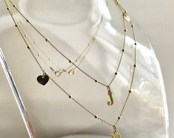 Personalised Initial Necklace, Satellite Chain