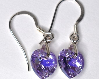 Swarovski Crystal Heart Earrings, Gift Boxed, Colour Choice