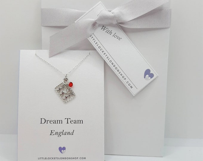 National Pendant - England, Ireland, Scotland, Wales - with Swarovski Crystals in Team Colours