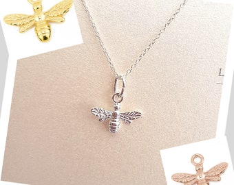 Bee Pendant available in Sterling Silver, Gold Vermeil, Rose Gold Vermeil, Personalise