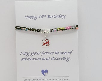 Personalised 18th Birthday Gift, Liberty of London Fabric Bracelet, Charm Bracelet, Fabric Bracelet