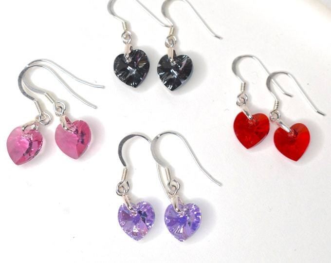 Swarovski crystal heart earrings in several colour choices