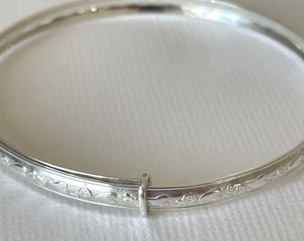 Sterling Silver Adjustable Bangle for Child  - Bridesmaid, Flower Girl, naming ceremony, keepsake jewellery, FREE gift pouch