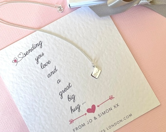Love and Hugs Miss You Gift. Letter Pendant on Personalised Gift Card. Mum, Gift for her, Anniversary, wedding, birthday