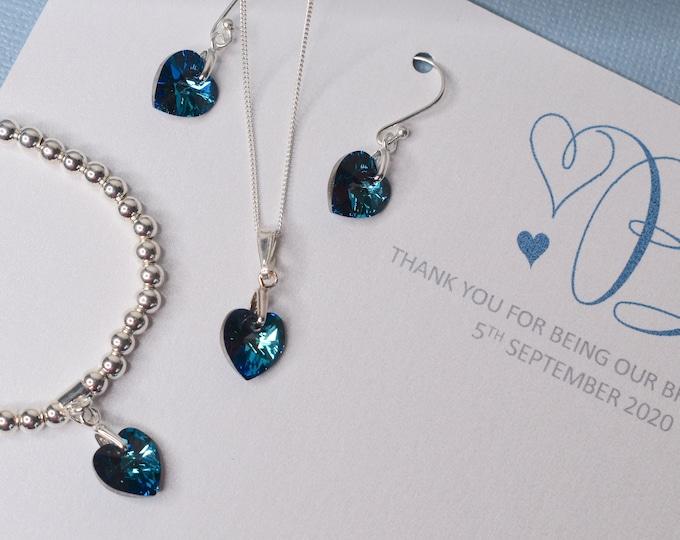 Swarovski heart jewellery set, choice of colours