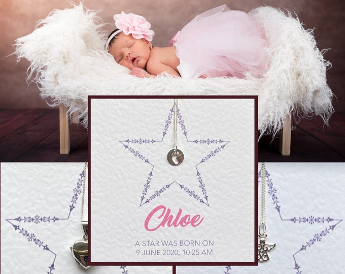 New Baby A STAR IS BORN necklace and message card - Christening gift, Baby keepsake, New Born gift, Keepsake jewellery