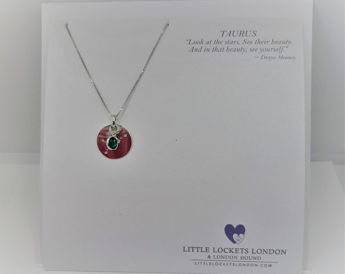 Zodiac birth sign constellation pendant with birthstone