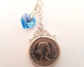 Traditional Sixpence Bouquet Charm, Real British Sixpence