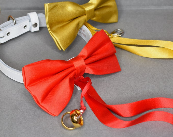 Dog Ring Bearer/Proposal Gold Bow Tie and Collar, Wedding Dog Collar, Pet Collars, dog tie, wedding collar, pets at wedding, engagement idea