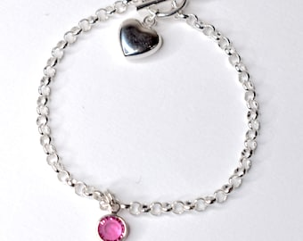 First Charm bracelet for child in sterling silver - keepsake