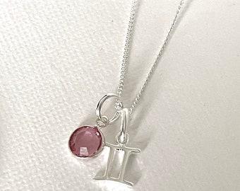 Zodiac Birth Sign Pendant, Sterling Silver, optional Swarovski Crystal Birthstone, free gift pouch