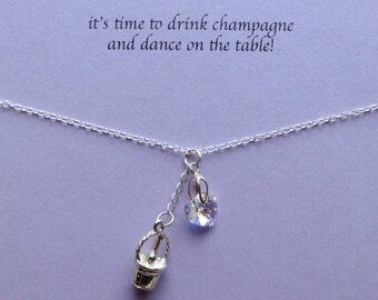 Luxury champagne charm necklace, champagne, celebration, sterling silver, swarovski charm necklace, message jewellery,bridesmaid