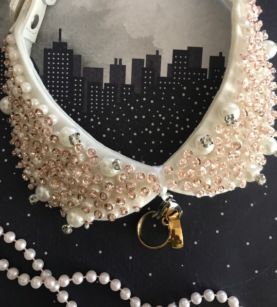 Ivory Pearl Studded Dog Collar Ring Bearer Wedding Dog Etsy