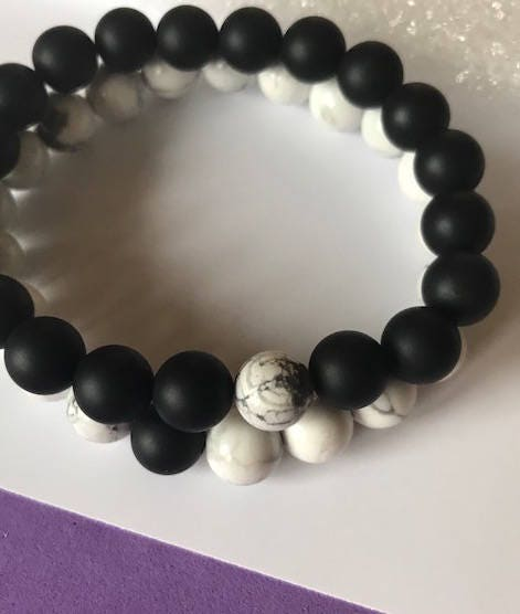 fca6270504 Couples / Distance Bracelets –Valentine Gift, Howlite Agate, Serenity,  Believe, You Complete Me, His and Hers, Best Friends, gifts for him