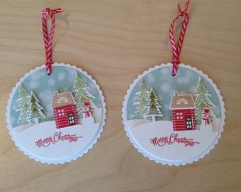 Christmas Tags, Snowman Tags - Set of Two