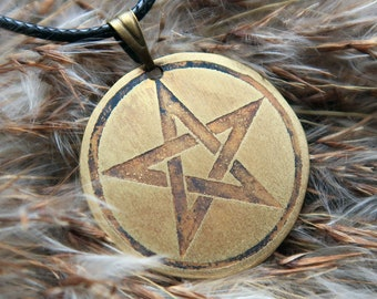 Pentagram necklace, witch jewellery, wicca pendant, upside down pentagram copper necklace, pagan jewelry, pentacle pendant, wicca jewelry