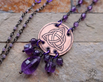 Celtic Amethyst copper necklace, Triquetra pendant, celtic jewelry with natural amethysts, celtic triquetra, pagan jewelry, celtic necklace