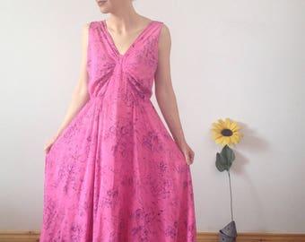 Pink Vintage Midi Dress