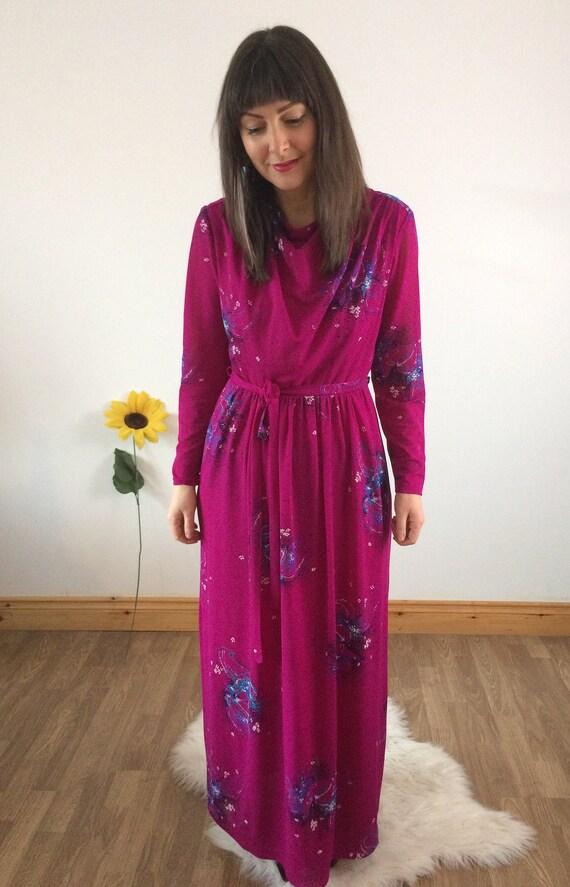 Vintage 70s Pink Long Sleeved Maxi Dress