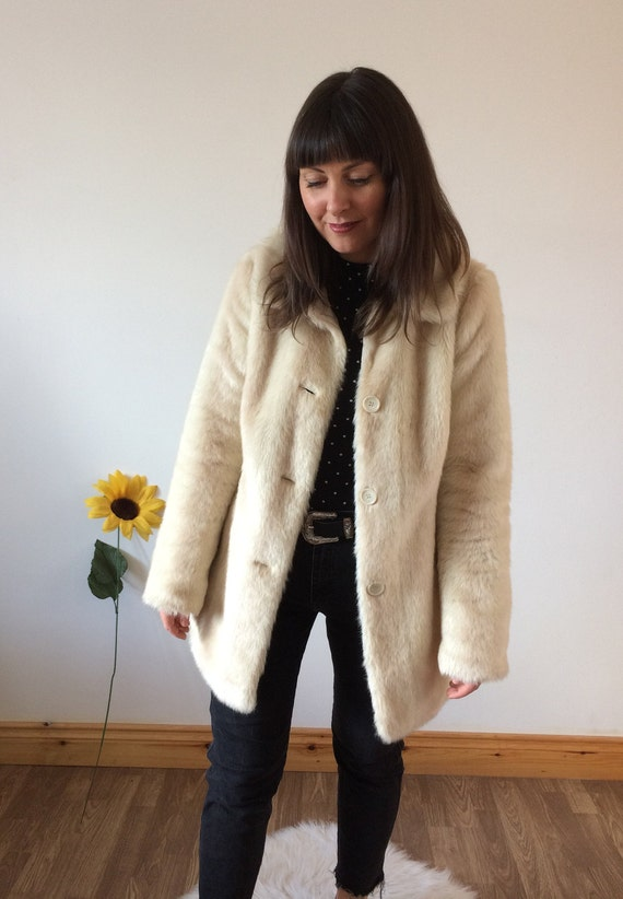 Vintage 60's Beige/Cream Faux Fur Coat