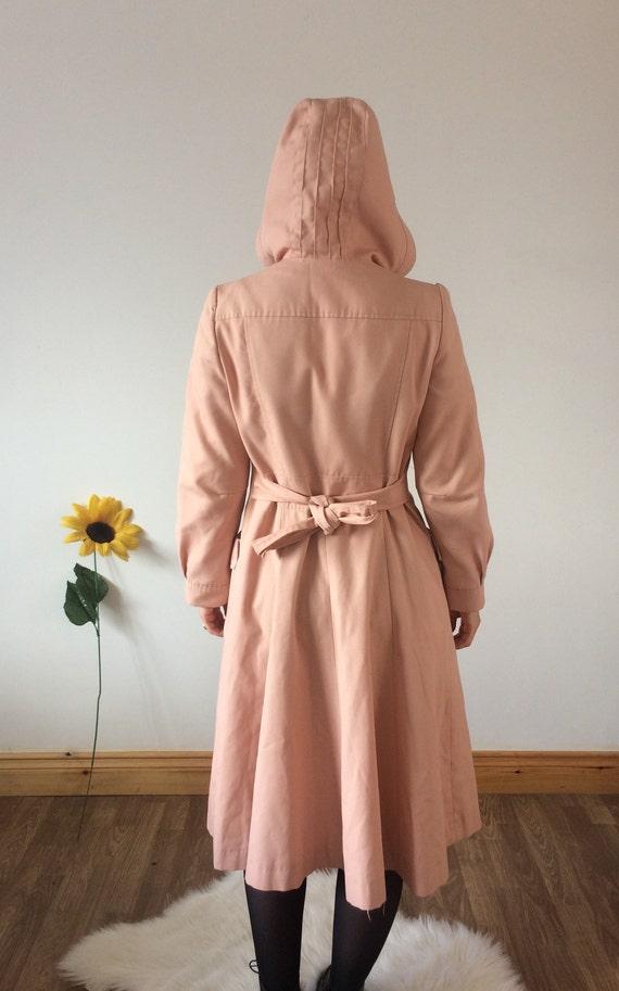 Vintage 70s Light Pastel Pink Midi Trench Coat - image 3