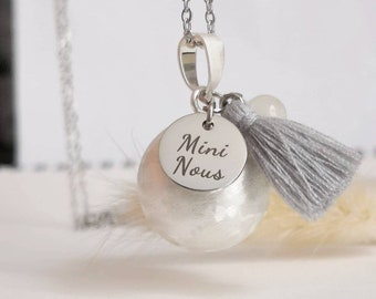 Mini Pregnancy Bola We handmade pompom and Moonstone on brushed plated silver ball and hypoallergenic stainless steel chain.
