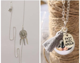 Pregnancy's Bola ball silver Pom Pom made with love with her dream catcher and lucky clover