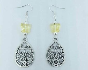 Drop flower earrings and Swarovski butterflies