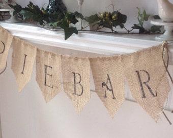 PIEBAR Burlap Banner, Wedding Banner, Party Banner, Desert Table Banner, Outdoor Party Banner.