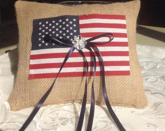 Patriotic flag and Burlap Ring Bearer pillow, Burlap pillow, Wedding Ring Pillow  ----------