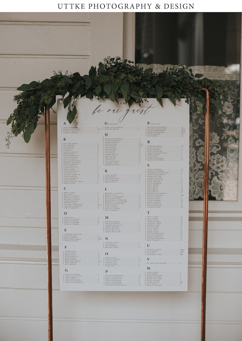 Small Copper Seating Chart Welcome Frame