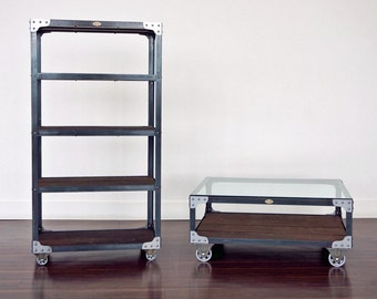 Matching Industrial Bookcase And Glass Top Coffee Table Set Steel Wood Bookshelf On Casters With A