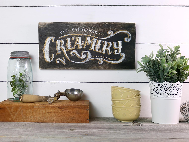 Molkerei Holz Schild Vintage rustikales Holz Zeichen