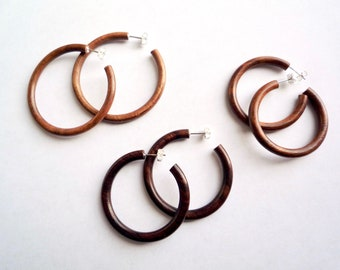 9ee88d10e Exotic wood hoop earrings with solid sterling silver posts and backs