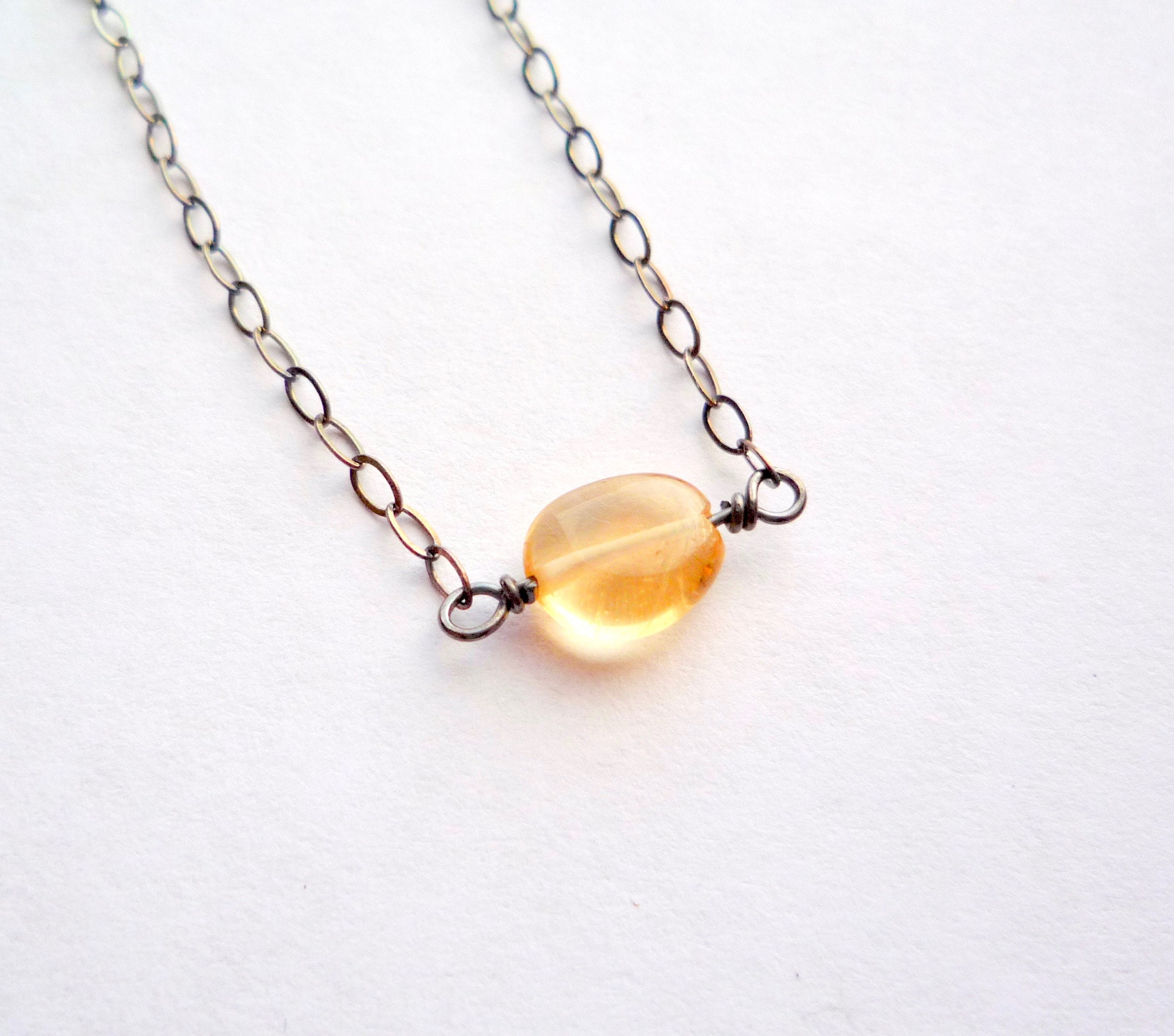 Citrine Bead and Chain Necklace and Earrings