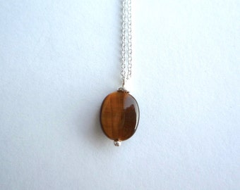Small tiger eye pendant, Solid sterling silver chain, Oval flat tiger eye bead necklace, Small brown stone necklace