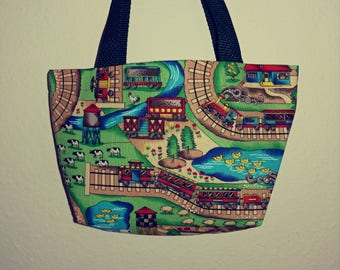 Train Tracks and Trains Small Bag for Children