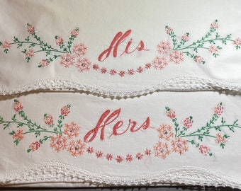 white cross stitch floral pillowcase Lotus flower embroidered pillowcases pink green 1950s standard vintage hand made mid century