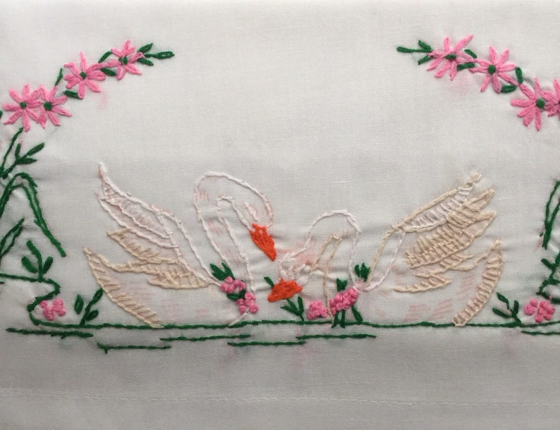 Vintage pillowcase with embroidery swans and and lilypad embroidered pillowcase 20x30