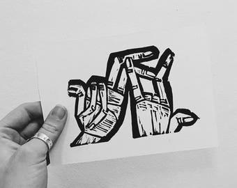 Broken Hands linocut print