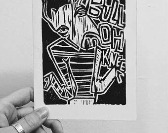 BULL-OH-KNEE linocut print