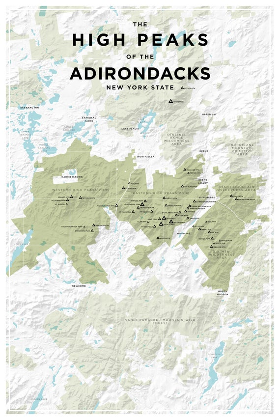 High Peaks of the Adirondacks New York State Topographic Map Home or Office  Decor, Gift for Wilderness Lover, Camper, or Hiker