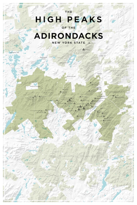 Topographic Map New York State.High Peaks Of The Adirondacks New York State Topographic Map Etsy