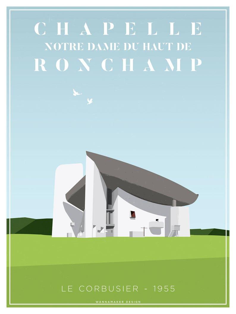 Le Corbusier Ronchamp Chapel Architectural Illustration Fine  39206c259119