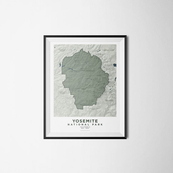 Map of Yosemite National Park California Minimalist | Etsy