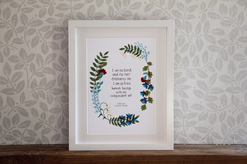Jane Eyre  Charlotte Brontë  A4 Book Quote Print Poster  I image 0