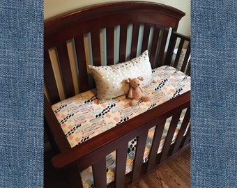 Custom Fitted Crib Sheet, Choose your Fabric, Organic Fabric, Cotton