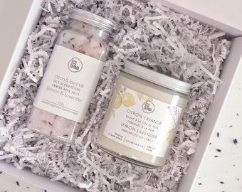 Lemon Lavender Gift Set - Bath Salt & Handcrafted Soy Candle, gift for mom, mother's day, teacher's gift set, self-care gift set