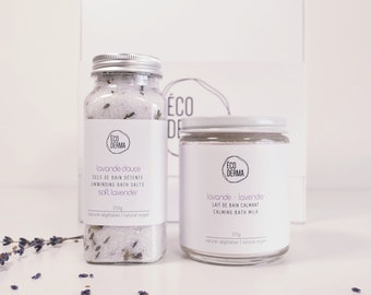 Lavender Gift Box Duo | Aromatherapy | Essential oils | Natural | Spa Gift for her | Soothing Bath Soak | Vegan Bath Milk | Handmade gift
